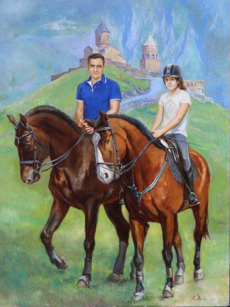 """""""Парный конный портрет"""".  Холст, масло"""