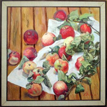 """""""Яблоки на столе"""". Холст, масло. 60х60 см"""