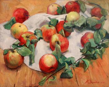 """""""Яблочки на столе"""". Холст, масло. 40х50 см"""