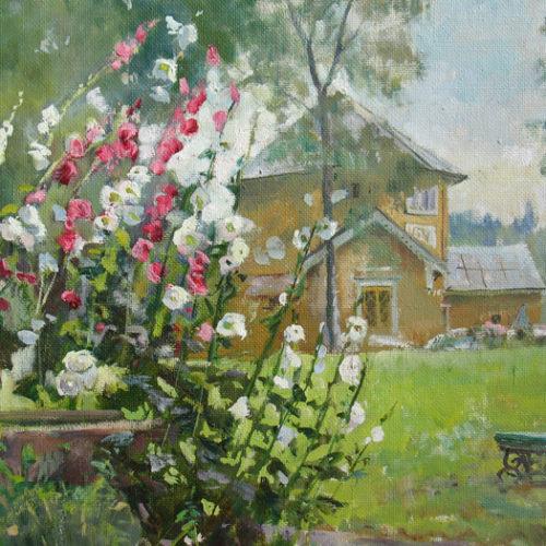 """""""Мальвы в цвету"""".  Холст, масло.  48х43 см.  2007 г."""