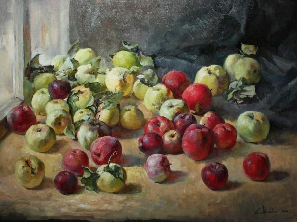 """""""Яблоки в красном"""".  Холст, масло.  60х80 см.  2011 г."""