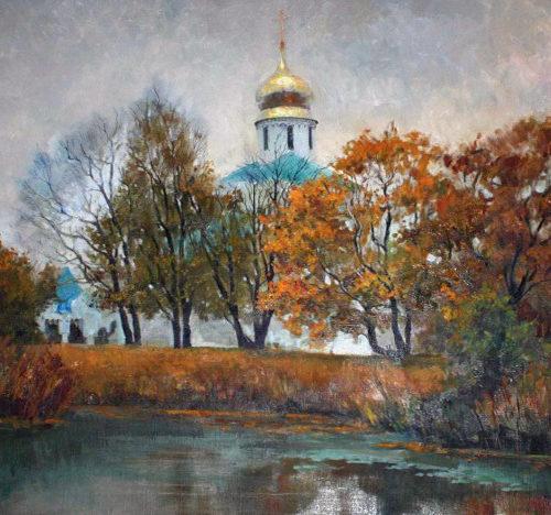 """""""Осень в Пушкине"""".  Холст, масло.  80х100 см.  2009 г."""