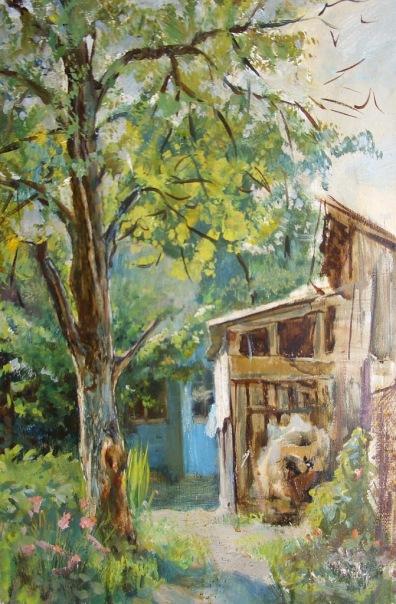 """""""Белгородский дворик"""".  Холст, масло. 38х50 см. 2005 г."""