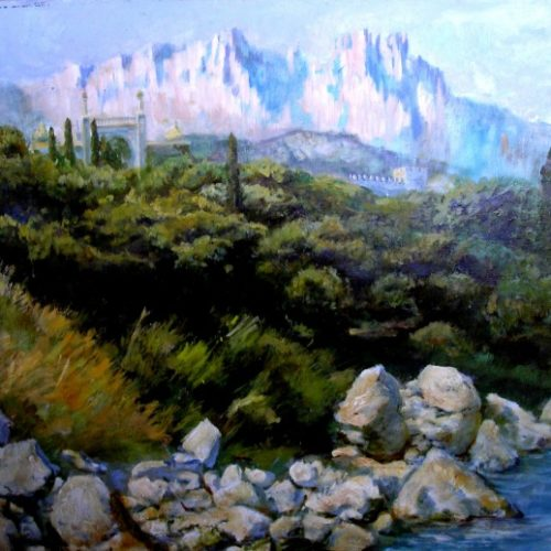 """Крымские горы"".  Холст, масло.  2004 г."