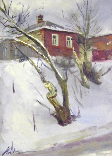 """""""Зима в провинции"""". Холст, масло."""