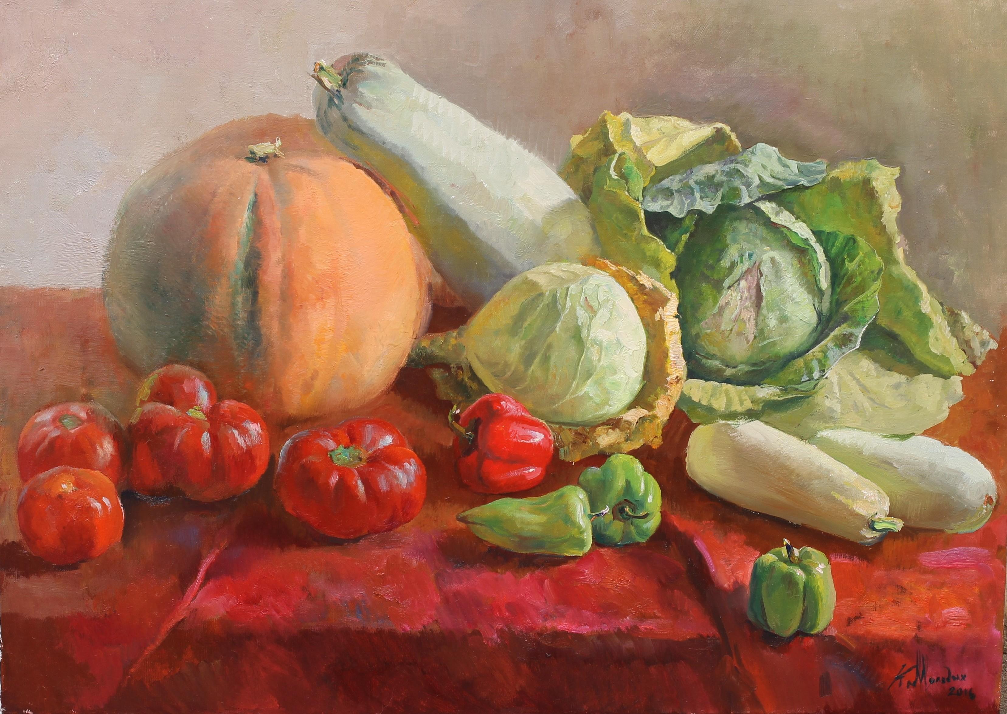 """Натюрморт с овощами"".  Холст, масло.  65х90 см.  2016 г."