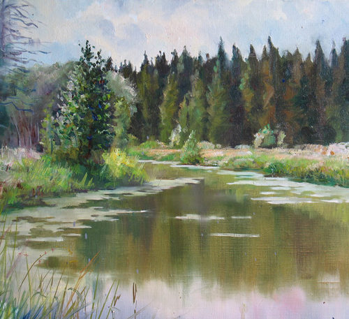 """""""Лесная река в Рябово. Вятка"""". Холст, масло. 39х50 см. 2008 г."""