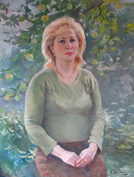 """""""Женский портрет в саду"""".  Холст, масло. 90х70 см."""