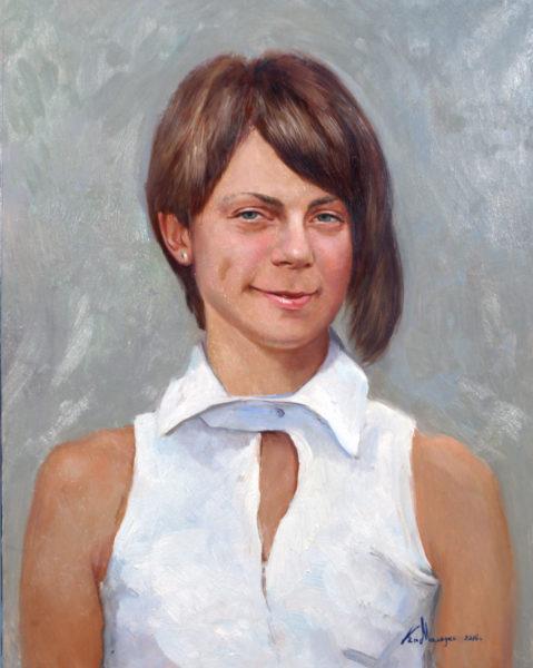 """Портрет молодой девушки"". Холст, масло. 50х40 см."